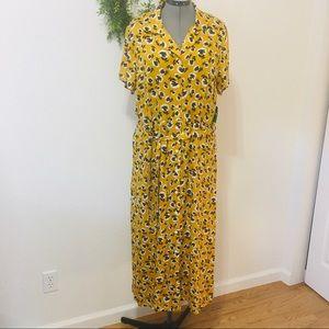 Dip Mustard Yellow Floral Short Sleeve Maxi Dress